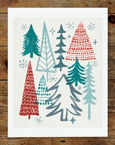 8x10 Christmas Tree Holiday Art Print. $15.00, via Etsy.
