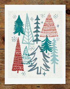 8x10 Christmas Tree Holiday Art Print. $15.00, via Etsy.