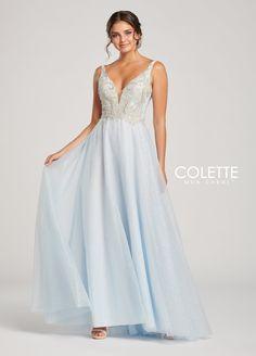 6f733443de Colette CL19849 Ice Blue Silver V Neck Open Back Prom Dress. Ice Blue DressFormal  PromFormal GownsOpen ...