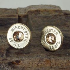 Winchester 38 SPL Bullet Earrings - Ultra Thin - Light Colorado Topaz