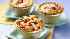 Individual Strawberry-Rhubarb Mini Pies: Makes 6. 2 cups frozen strawberries, thawed, drained, juice reserved  1 cup sugar  2 tablespoons cornstarch  3 cups frozen chopped rhubarb, partially thawed  1 box Pillsbury® refrigerated pie crusts, softened as directed on box