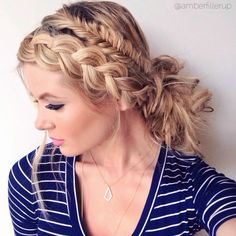 Check out the video tutorial for this braided/messy bun style. Just click on the photo.