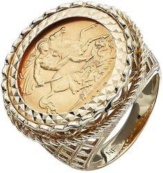 9 Carat Yellow Gold Half Sovereign Mens Ring