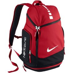 Nike Hoops Elite Max Air Team Backpack ($80) ❤ liked on Polyvore featuring bags, backpacks, nike, red bag, travel daypack, red backpack and travel backpack
