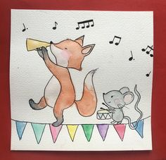 #kinderzimmer #fuchs #maus #kinder #aquarell #bunt #babyzimmer #bilder #musik #freunde #tiere #cards Bunt, Snoopy, Fictional Characters, Children Drawing, Watercolor Fox, Watercolor Map, Fantasy Characters
