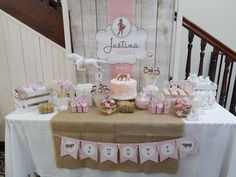Cowgirl birthday party in pink and brown! See more party planning ideas at CatchMyParty.com!