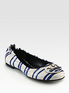 Tory Burch Reva Striped Leather Ballet Flats--Tired of the Tory Burch Logo but love the nautical stripes!