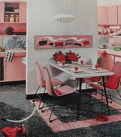1960s Kitchen Dining Breakfast Nook Interior Vintage Interior Design Photo