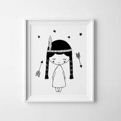Whimsical poster, Baby girl nursery decor, wall art printable, Pocahontas, black and white poster, playroom sign, digital print