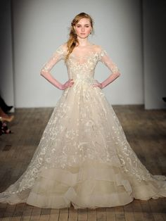 Lazaro Fall 2017 A-line wedding gown with metallic threadwork and floral patterns