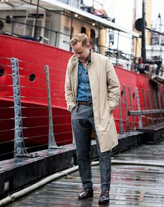 Bruce Pask again in an outfit I believe is built of staple pieces! All men should have a grey pair of trousers, she'll cordovan shoes, a good denim shirt and a versatile overcoat!