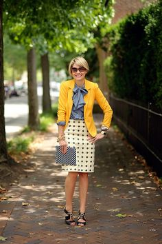 polka dot pencil skirt with chambray and a mustard cardi