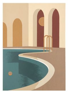 Print Club London have recently collaborated with Charlotte Taylor to produce her architectural pieces into limited edition screen prints! 'Morning Pool' by Charlotte Taylor is available now from Print Club London. Charlotte Taylor, Posca Marker, Turbulence Deco, Diy Canvas Art, Digital Illustration, Planer, Screen Printing, Pop Art, Art Drawings