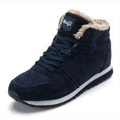Botas de invierno para hombre Botas de nieve a la moda Zapatos de tobillo  para hombre Botas de invierno Negro Azul fcce8d6194b