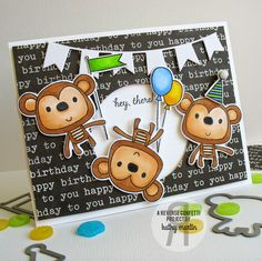 Hey There! by Kathy Martin for #reverseconfetti using the Monkey Business stamps and Confetti Cuts.