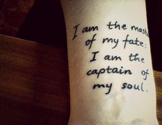 """Done at Reykjavík INK witch is located in the capital city of Iceland. Zack from Texas is the tattooist. From """"Invictus"""" by William Ernest Henley"""