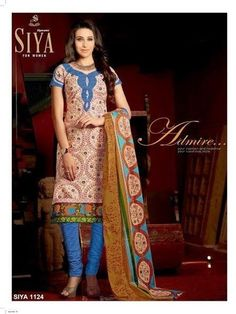 Karishma Bollywood Cotton blue and beige unStitched Salwar Suit dupatta