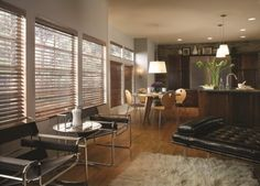 Dark wood blinds give this home a classic and refined look.