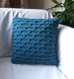 Boscombe Hand Knitted Teal Pillow / Cushion Cover by Lindyknits, £30.00