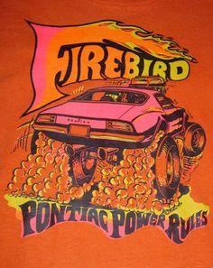 Vintage-70s-Roach-Pontiac-Power-Rules-Firebird-orange-graphic-tee-t-shirt-Small