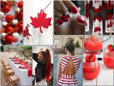 We're ready to sport red and white! Happy Birthday Canada, Canada Day Party, Canada Holiday, Frozen Cocktails, Shower Party, Love Is All, Holidays And Events, Event Decor, Fun Activities