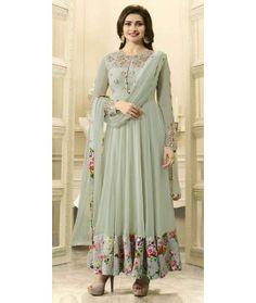 Prachi Desai In Grey Georgette Anarkali Suit With Dupatta.