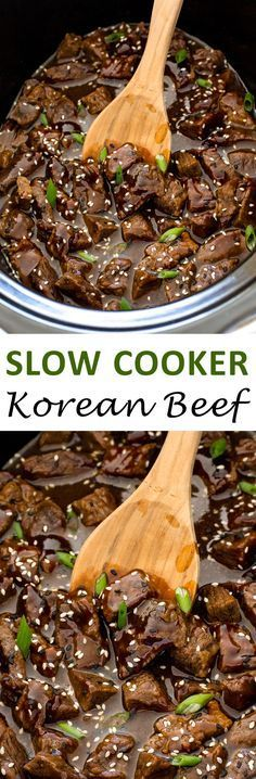 Incredibly Tender Slow Cooker Korean Beef. Cooked low and slow for 8 hours! | chefsavvy.com #recipe #slow #cooker #korean #beef #dinner #crockpot