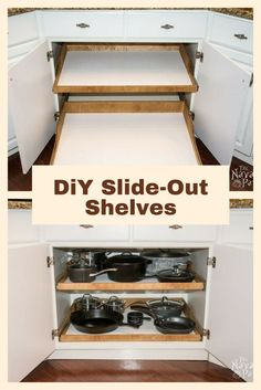 DiY Slide-Out Shelves – A husband and wife want more kitchen cabinet space, but instead of simply decluttering they do THIS! DiY Slide-Out Shelves – A husband and wife want more kitchen cabinet space, but instead of simply decluttering they do THIS!