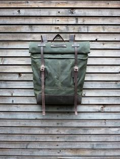 Waxed canvas rucksack/backpack with roll up top by treesizeverse,