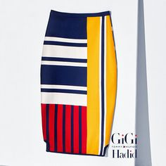 Tommy Hilfiger Viscose Patchwork Pencil Skirt Gigi Hadid - peacoat / multi (Blue) - Tommy Hilfiger Midi - главное изображение