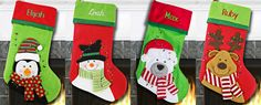 Christmas stocking ideas.  Penguin, snowman, polar bear, and reindeer cartoon characters with scarves on stockings
