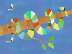"""Stripy Snake"" kids wall decor by Melanie Mikecz for Oopsy daisy, Fine Art for Kids $59"