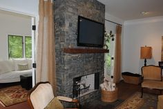 Stacked Slate Fireplace Surround   Ledger Stone Fireplace Surround Design Ideas, Pictures, Remodel, and ...