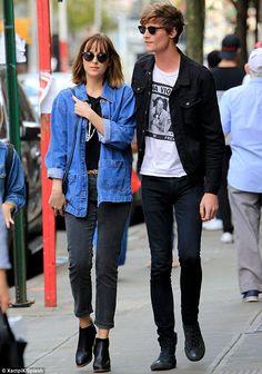 Who needs Christian Grey? Dakota Johnson looked very close to her on-off beauMatthew Hitt in New York on Monday