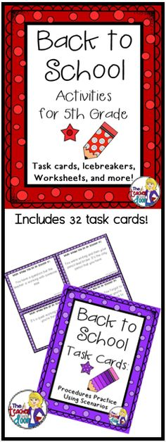 This 36 page set of worksheets, task cards, games, a writing activity, math activities and more will keep your kids busy learning the first week. Great activities to help you get to know the kids, while allowing them to get to know one another, and helping them make the transition to a new classroom. Love this for Back to School! (TpT Resource)