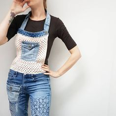 What was that? Can you make a pair of dungarees with your old jeans? Yeah you can!  If you know how to make a granny square then you can make these bad boys. Using a pocket from another holey pair of jeans you can crochet around the edge and make a bid, and then use the waist band to make the neck strap. I KNOW! Hermes Store, Knit World, Crochet Embellishments, Old Jeans, Yarn Shop, Crochet Clothes, Crochet Outfits, Dungarees, Crochet Designs