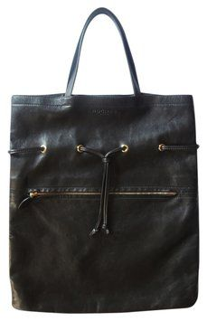 ROCHAS BLACK LEATHER TOTE BAG www.fullcirclefashion.com
