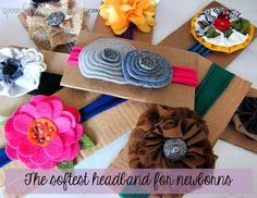 **This woman is a crafting GENIUS!!!**.  The softest headband for newborns:  You wont believe what the material is made out of!