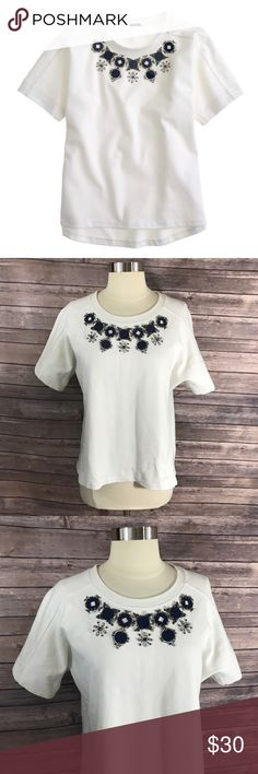 J Crew Structured Necklace T Shirt Top Sz Small J Crew Womens Structured Necklace T Shirt Top Sz Small Jeweled White Blue Shirt. Measurements: (in inches) Underarm to underarm: 20.5 Length: 23  Good, gently used condition J. Crew Tops Tees - Short Sleeve