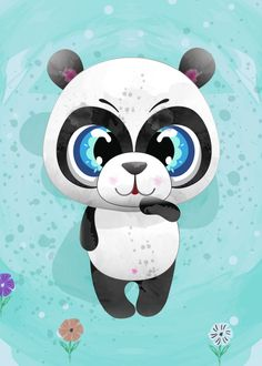 """Beautiful """"cute panda"""" metal poster created by Queensy Collin. Our Displate metal prints will make your walls awesome. Animal Posters, Cute Panda, Well Thought Out, New Artists, Cool Artwork, Trees To Plant, Disney Characters, Fictional Characters, Snoopy"""