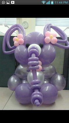 Cute purple elephant balloon sculpture for a baby shower. : Cute purple elephant balloon sculpture for a baby shower. Jungle Balloons, Baby Shower Balloons, Elephant Balloon, Balloon Animals, Balloon Display, Balloon Garland, Baby Shower Purple, Baby Boy Shower, Ballon Arrangement
