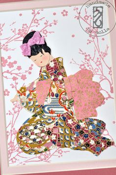 ON SALE Cherry blossomoriental little maiko portrait by moligami
