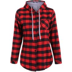 Long Sleeve Hooded Plaid Shirt ($17) ❤ liked on Polyvore featuring tops, hooded, long sleeves, plaid, plaid shirts, shirt top, red shirt, long sleeve shirts and red long sleeve top