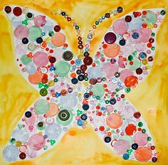 "This ""bead and button"" butterfly is a creative craft for parents and children to do together."
