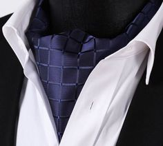 Navy with Squares Ascot Tie $39.99.   Handmade and 100% Silk  http://www.tieaficionado.com