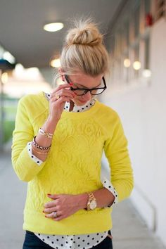 Something to think about next time I buy glasses. Lively Yellow, polka dot shirt, cute and warm outfit to office