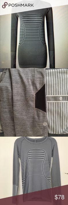 """Lululemon Swiftly Tech Long Sleeve Crew Like new. Lightweight fabric, seem less construction, doesn't bind, beyond comfy.  Hard to find """"heathered slate"""" lululemon athletica Tops"""
