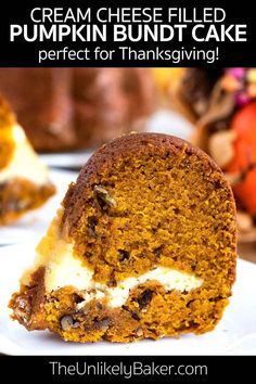 This pumpkin bundt cake with cream cheese filling will be the star of your Thanksgiving celebrations. It's a perfectly spiced pumpkin cake with pecans and a cream cheese centre. So delicious and full of the warm, cozy flavours of fall. Make ahead, easy to make, so good. Get the recipe with step-by-step photos.