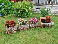 Train log planter