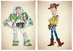 Supermarket: Set of 2 typography prints based on quotes from the movie Toy Story from 17th and Oak